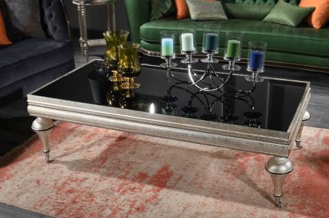 Casa Padrino Luxus Barock Couchtisch Schwarz / Silber - Prunkvoller Massivholz Wohnzimmertisch mit Glasplatte - Barock Wohnzimmer Möbel