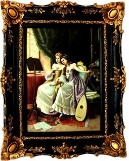 Casa Padrino Barock Öl Gemälde Damen Porträt Musizieren Gold - Schwarz Prunk Rahmen 101 x H. 80 cm - Barockgemälde