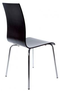 Designer Stuhl aus Holz und verchromtem Stahl Schwarz, Esszimmerstuhl, moderner Wohnzimmerstuhl - Vorschau 2