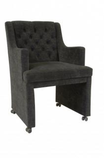 Casa Padrino Designer Esszimmer Stuhl / Sessel ModEF 310 Dunkelgrau - Hoteleinrichtung- Sessel auf Rollen - Vorschau 3