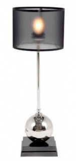 Casa Padrino Luxus Tischleuchte Schwarz vernickeltes Metall - Leuchte - Luxury Collection