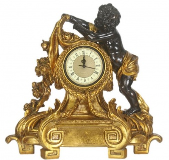 Casa Padrino Barock Tischuhr Antik Gold / Schwarz 60 x 28 x H. 55 cm - Barock Deko Accessoires