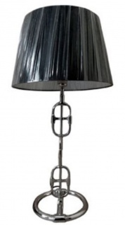 Casa Padrino Designer Tischleuchte Silber / Schwarz Ø 25 x H. 58 cm - Luxus Lampe mit rundem Lampenschirm