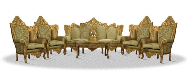 Casa Padrino Barock Sofa Set Antik Gold - Edel & Prunkvoll