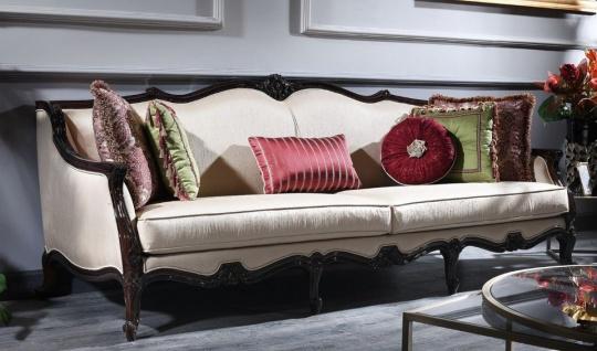 Casa Padrino Luxus Barock Sofa Creme / Braun 260 x 90 x H. 95 cm - Wohnzimmer Sofa im Barockstil - Barock Möbel
