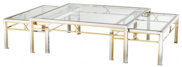 Casa Padrino Couchtisch 3er Set Silber / Gold - Luxus Wohnzimmertisch