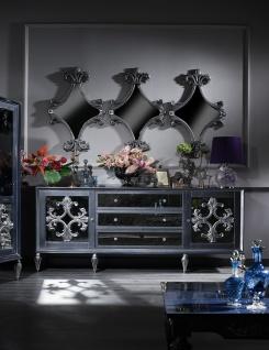 Casa Padrino Luxus Barock Wohnzimmer Set Grau / Blau / Silber - Kommode und 3 Spiegel - Barock Wohnzimmermöbel