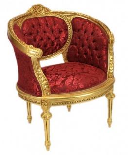 Casa Padrino Barock Wohnzimmer Set Marseille Bordeaux Muster / Gold - Sofa + 2 Sessel - Vorschau 4