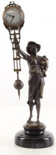Casa Padrino Jugendstil Tischuhr Junge Bronze / Schwarz 13, 5 x 10, 6 x H. 37, 4 cm - Bronzefigur mit Marmorsockel und Uhr - Schreibtischuhr