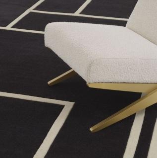 Casa Padrino Luxus Teppich Schwarz / Cremefarben 300 x 400 cm - Handgetufteter Wohnzimmer Teppich aus 100% Neuseeland Wolle - Luxus Qualität