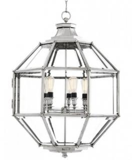 Casa Padrino Luxus Laterne - Luxus Nickel Hängeleuchte Durchmesser 80 x H 98 cm