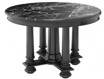 Casa Padrino Luxus Hotel Salon Tisch in schwarz mit schwarzer Marmorplatte 120, 5 x H. 78 cm - Luxus Qualität