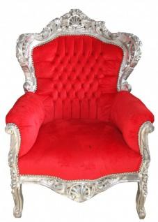"""Casa Padrino Barock Sessel """" King"""" Rot/Silber- Antik Stil"""