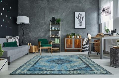 Casa Padrino Vintage Wohnzimmer Teppich Blau 160 x 240 cm - Rechteckiger Baumwoll Teppich - Wohnzimmer Deko Accessoires - Vorschau 2