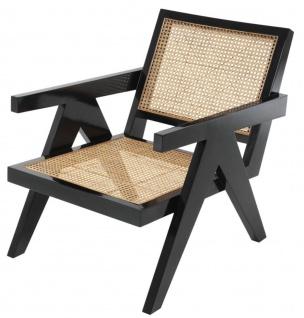 Casa Padrino Designer Stuhl mit Armlehnen in schwarz / naturfarben 58 x 82 x H. 70 cm - Designermöbel