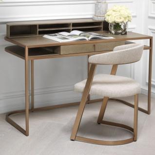 Casa Padrino Designer Stuhl mit Armlehnen Naturfarben / Messingfarben 53, 5 x 49 x H. 78 cm - Esszimmerstuhl - Bürostuhl - Designermöbel - Vorschau 5