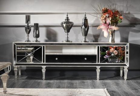 Casa Padrino Luxus Barock Fernsehschrank mit Spiegelglas Silber / Gold 200 x 55 x H. 72 cm - Verspiegelter TV Schrank - Luxus Qualität