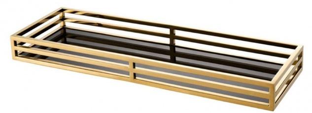 Casa Padrino Luxus Serviertablett Gold / Schwarz 60 x 20 x H. 5, 5 cm - Edelstahl Tablett mit schwarzem Spiegelglas