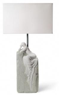 Casa Padrino Luxus Tischleuchte Grau / Weiß 30 x 20 x H. 57 cm - Designer Tischlampe mit hangefertigter Porzellan Skulptur einer meditierender Frau Mod2