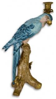 Casa Padrino Jugendstil Kerzenständer mit Papagei Blau / Weiß / Gold 27, 4 x 16 x H. 46 cm - Kerzenhalter