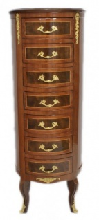 Casa Padrino Barock Kommode Mahagoni / Gold mit 7 Schubladen Rund - Antik Stil