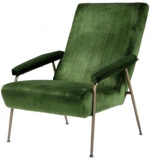 Casa Padrino Luxus Lounge Sessel Grün / Messing 73 x 102 x H. 96, 5 cm - Wohnzimmer Samt Sessel - Luxus Wohnzimmer Möbel