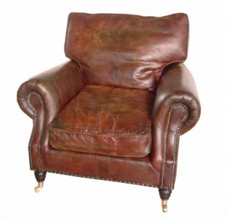 Casa Padrino Luxus Echtleder Vintage Sessel Cigar Braun - Leder Sessel Art Deco Lounge