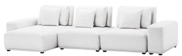 Casa Padrino Luxus Wohnlandschaft Weiß / Schwarz 340 x 159 x H. 83 cm - Wohnzimmer Sofa mit 6 Kissen - Luxus Qualität
