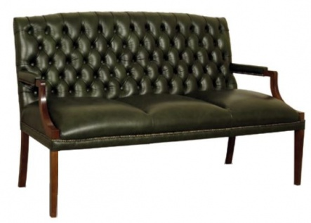 Casa Padrino Chesterfield 3er Sitzbank mit Armlehnen Dunkelgrün / Dunkelbraun 180 x 60 x H. 100 cm - Echtleder Möbel