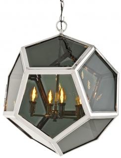 Casa Padrino Luxus Hängeleuchte in silber mit Rauchglas 63 x H. 65 cm - Luxus Kollektion