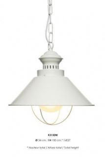 Casa Padrino Hängeleuchte Deckenleuchte Weiß Industrial Design 34 cm Durchmesser - Industrie Lampe Leuchte Industrieleuchte