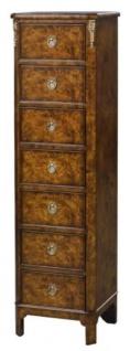 Casa Padrino Luxus Jugendstil Kommode mit 7 Schubladen Braun 35 x 30 x H. 127 cm - Luxus Qualität