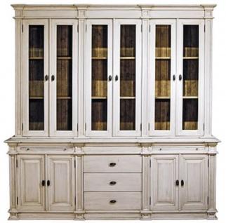 Casa Padrino Landhausstil Küchenschrank Antik Weiß / Braun 225 x 53 x H. 230 cm - 2 Teiliger Küchenschrank mit 10 Türen und 3 Schubladen