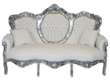 Casa Padrino Barock 3er Sofa King Weiß Lederoptik / Silber - Wohnzimmer Couch Möbel Lounge
