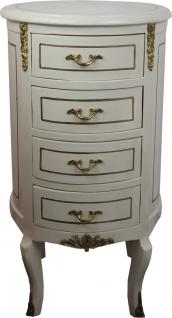 Casa Padrino Barock Kommode Rund Antik Stil Creme Weiß / Gold 42 x H 77.5 cm - Barock Möbel