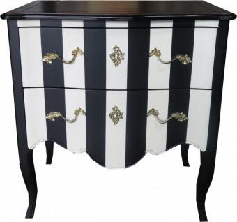Casa Padrino Barock Kommode Schwarz / Weiß Streifen / Holzfarben mit Gold Applikationen 80 cm - Schrank mit 2 Schubladen