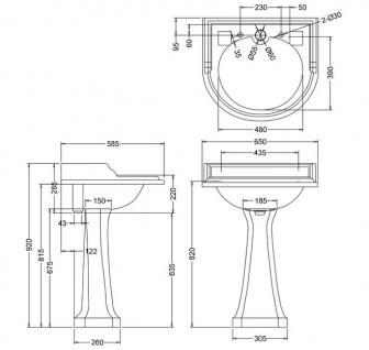 Casa Padrino Art Deco Waschbecken mit 2 Hahnlöchern - Porzellan Waschbecken - Vorschau 2