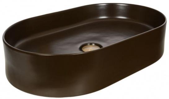 Casa Padrino Jugendstil Waschbecken Matt Braun 61 x 38, 5 x H. 12, 7 cm - Ovales Keramik Retro Waschbecken - Rustikales Bad Zubehör