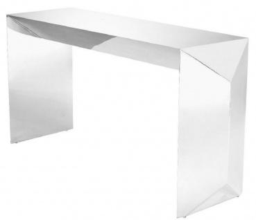 Casa Padrino Luxus Konsole Silber 155 x 45 x H. 76 cm - Edelstahl Konsolentisch - Luxus Qualität