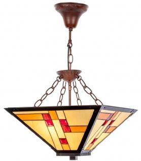 Casa Padrino Luxus Tiffany Hängeleuchte Mehrfarbig 40 x 40 cm - Handgefertigte Lampe aus 64 Teilen