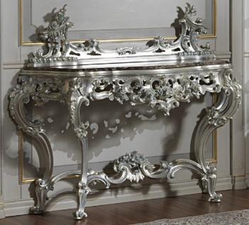 Casa Padrino Luxus Barock Konsole Silber / Schwarz - Prunkvoller handgeschnitzter Konsolentisch mit Marmorplatte - Hotel Möbel - Schloss Möbel - Luxus Qualität - Made in Italy
