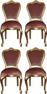 Casa Padrino Luxus Barock Esszimmer Set Rosa / Gold 45 x 46 x H. 99 cm - 4 handgefertigte Esszimmerstühle - Barock Esszimmermöbel