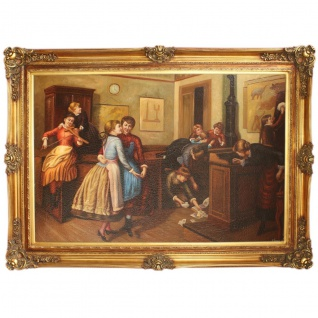 Riesiges Handgemaltes Barock Öl Gemälde Tanz Mod1. Gold Prunk Rahmen 225 x 165 x 10 cm - Massives Material