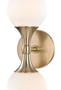Casa Padrino Luxus LED Wandleuchte Antik Messingfarben / Weiß 12, 1 x 15, 2 x H. 34, 2 cm - Wandlampe mit kugelförmigen Glas Lampenschirmen - Vorschau 2