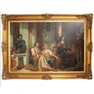 Riesiges Handgemaltes Barock Öl Gemälde Gottesdienst Gold Prunk Rahmen 225 x 165 x 10 cm - Massives Material