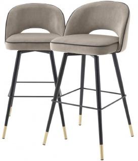 Casa Padrino Luxus Barstuhl Set Greige / Schwarz / Messingfarben 51 x 52 x H. 103 cm - Barstühle mit drehbarer Sitzfläche und edlem Samtsoff - Luxus Bar Möbel