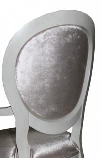 Casa Padrino Barock Esszimmer Stuhl mit Armlehne Beige / White / Silver - Designer Stuhl - Luxus Qualität - Vorschau 3