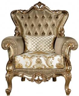 Casa Padrino Luxus Barock Wohnzimmer Sessel mit dekorativem Kissen Gold / Weiß 98 x 90 x H. 117 cm - Prunkvolle Barock Möbel