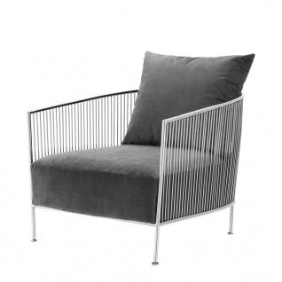 Casa Padrino Luxus Sessel Grau / Silber 69 x 77 x H. 78 cm - Designer Hotel Möbel