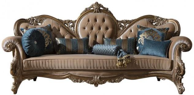 Casa Padrino Luxus Barock Sofa Braun / Gold 260 x 90 x H. 125 cm - Prunkvolles Wohnzimmer Sofa mit dekorativen Kissen - Barock Möbel